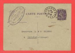 Entier Type Semeuse  236-CP Date 819 Cachet MORHANGE 1928 Entête Cuirs & Chaussures C.BROGARD - Entiers Postaux