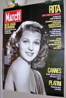 PUBLICITE AFFICHE PRESSE N°1983 DU 29 05 1987 PARIS MATCH 60cmX78cm RITA HAYWORTH PLATINI MICHEL CANNES ORSON WELLES ALI - Manifesti