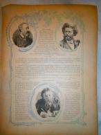 FEUILLE  SUR  EMILE BERGERAT / JULES VERNES ET CAMILLE FLAMMARION - Vieux Papiers
