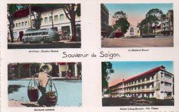"""Cpsm , Saigon , Carte Mulivues """" Souvenir De Saigon """" - Vietnam"""