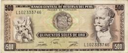 BILLET # PEROU # 500 SOLES DE ORO # 1975 # PICK110 # CIRCULE # TYPE PERIOLA - Peru
