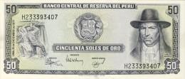 BILLET # PEROU # 50 SOLES DE ORO # 1977 # PICK 113 # NEUF # TUPAC AMARU II # - Pérou