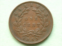 1863 RAJAH J. BROOKE - ONE CENT SARAWAK / KM 3 ( For Grade, Please See Photo ) !! - Malaysia