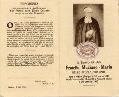 Santino Antico Depliant FRATELLO MUCIANO - MARIA (Scuole Cristiane) Con RELIQUIA (frammento Della Bara) - PERFETTO G9 - Religion & Esotericism