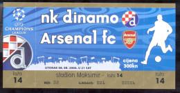 Football DINAMO ZAGREB Vs ARSENAL FC  Ticket  08.08. 2006. UEFA CHAMPIONS LEAGUE - Tickets D'entrée
