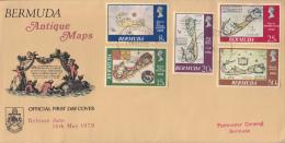 Bermuda FDC Scott #380-#384 Set Of 5 Antique Maps Of Bermuda - Bermudes