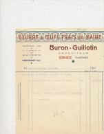 FA 637 / FACTURE -  BEURRE &OEUFS FRAIS DU MAINE  BURON GUILLOTIN   ERNEE  MAYENNE - France