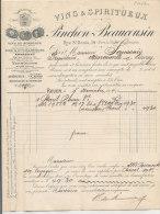 FA 670 / FACTURE -   VINS ET SPIRITUEUX   PINCHON  BEAUCOUSIN  ROUEN  SEINE INFERIEURE - 1800 – 1899