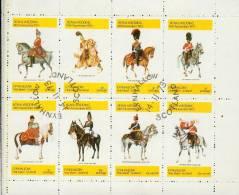 Eynhallow Scotland 1973 - Royal Wedding - Cavaliers Militaires  Bloc Feuillet De 8 Valeurs Oblitérés - Local Issues