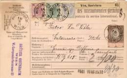 Österreich - Paketkarte 1890 Nach Palermo Mischfrankatur 3+50 Kreuzer 1890+ 10 Kreuzer 1883 - Briefe U. Dokumente