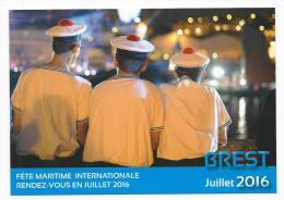 13284 - CARTE ANNONCIATRICE DE LA FÊTE MARITIME DE JUILLET- BREST 2016 ( LES MARINS) - Voiliers