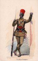 """Cpa  ,belle Carte Illustree Et Signee """" Edmond Lajoux """" Tirailleurs Senegalais - Patriotiques"""
