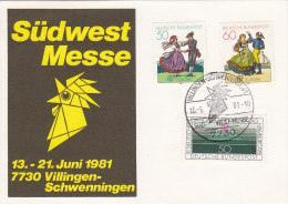 BRD 1096-1098 Auf Sonderkarte SÜDWEST Messe Mit Sonderstempel: Villingen-Schwenningen SÜD-WEST-MESSE 16.6.1981 - Marcophilie - EMA (Empreintes Machines)