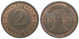 2 Rentenpfennig 1924 A (Germany - Weimar Republic) - 2 Rentenpfennig & 2 Reichspfennig