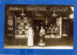 CARTE PHOTO CHEMISERIE DU XIXe ARR L MONDOLFO CHEMISES BONNETERIE CRAVATES - Arrondissement: 19