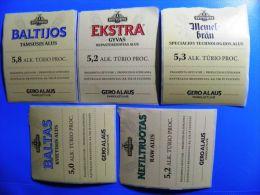 5 Beer Bier Stickers Labels From Lithuania, Švyturys Brewery Gero Alaus Parduotuve, Memel-brau Baltijos White Baltas Ext - Beer