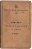TESSERA PER FAMIGLIA ITALIANA VIAGGIANTE IN GRUPPO CON RIDUZIONE DEL 50% 1939 - Treni