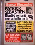 PUBLICITE 1987 ? AFFICHE DE PRESSE FRANCE DIMANCHE 50X73cm VEDETTE T.V. PATRICK SEBASTIEN LIZ TAYLOR Mme SOLEIL - Affiches