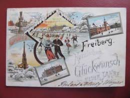 AK FREIBERG Winterlitho Litho Eislauf 1896 ! //  D*9907 - Freiberg (Sachsen)