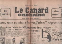 LE CANARD ENCHAINE 28 01 1959 - DE GAULLE - AFFAIRE LACAZE - LINO VENTURA - ALGERIE - PINAY - FREY - Journaux - Quotidiens