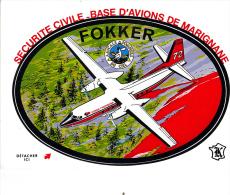 Blason Autocollant - Securité Civile - Marignane - FOKKER - Marignane