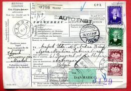 NORWAY - BULLETIN D´EXPÉDITION - FØLGEBREV COUPON Canc. MANDAL 1953 Sent  To Belgium Via DANMARK - Norvège