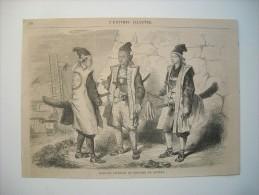 GRAVURE 1864. JAPON. SOLDATS JAPONAIS EN COSTUME DE GUERRE. - Stiche & Gravuren