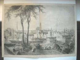 GRAVURE 1864. ALLEMAGNE. LA VILLE DE LUBECK.AVEC EXPLICATIF AU DOS. - Prenten & Gravure