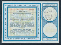 SCHWEIZ  -  Type XXI  -  90 CENTIMES  -  31.12.74  LD  100 Jahre UPU  - Reply Coupon Reponse , Antwortschein , IRC , IAS - Entiers Postaux