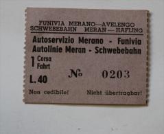 Billet Papier  Funivia MERANO-AVELENGO  Col Schnabel - Bus