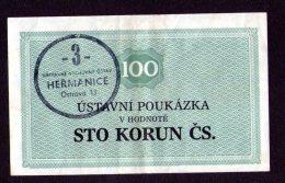 Czechoslovakia Prision Vouchers HEŘMANICE 100 Kčs - Tchécoslovaquie