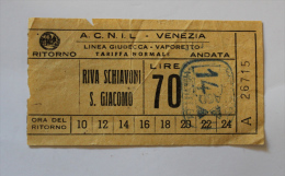 Billet Papier ACNIL RIVA SCHIAVONI-S.GIACOMO  Col Schnabel - Bus