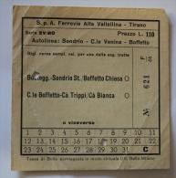 Billet Papier  Autolinea SONDRIO-C.Le VENINA-BOFFETTO Col Schnabel - Bus