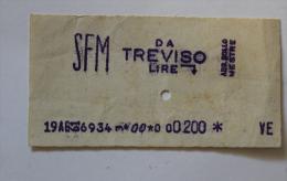 Billet Papier  SFM  MESTRE-TREVISO1961 Col Schnabel - Bus