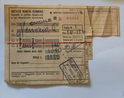 Billet Papier S.V.Fde CIVIDALE à VENEZIA 1961 Col Schnabel - Chemins De Fer