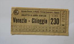Billet Papier VENEZIA-CHIOGGIA  Col Schnabel - Bus