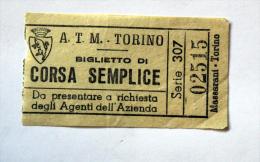 Billet Papier  A.T.M TORINO Col Schnabel - Bus