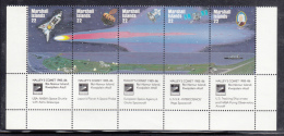Marshall Islands MNH Scott #90a Strip Of 5 22c Hailey's Comet Plus Labels - Marshall