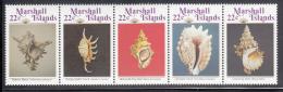 Marshall Islands MNH Scott #123a Strip Of 5 22c Sea Shells - Marshall