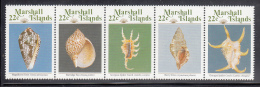 Marshall Islands MNH Scott #156a Strip Of 5 22c Sea Shells - Marshall