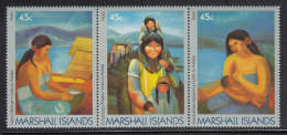 Marshall Islands MNH Scott #215a Strip Of 3 45c Paintings By Claire Fejes - Links To Alaska - Marshall