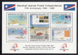 Marshall Islands MNH Scott #230 Souvenir Sheet Of 6 25c Islands Postal Independence - PhilexFrance 89 - Marshall