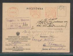 POLAND 1934 METERED POSTCARD PZU INSURANCE BUREAU LODZ TO TOWN HALL ZLOCZEW - 1919-1939 Republic