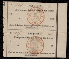 BELGIQUE 1854 BULLETIN PORT PERCU CHARLEROI  TAMPONS ROUGE 10 JANV 1854 - Belgique