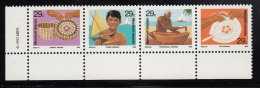 Marshall Islands MNH Scott #428a Strip Of 4 29c Traditional Handicrafts - Basket Weaving, Model Canoes. Carving, Fans - Marshall