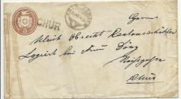 1870 5 Rp Tüblibrief Mit Stabstempel CHUR Bahnpoststempel Von Chur Nach Chur - Stamped Stationery
