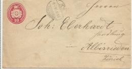 1878 10 Rp Tüblibrief Von WAEDENSCHWEIL Nach ZÜRICH - Ganzsachen