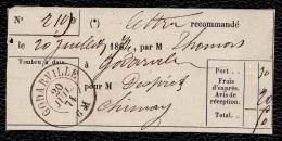 BELGIQUE 1874 BULLETIN LETTRE RECOMMANDEE DE GODARVILLE (20 Juil 74 - 6M) Vers CHIMAY - Belgium