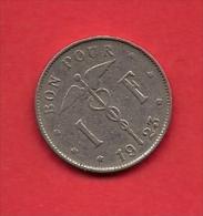 BELGIUM, 1923, Circulated Coin, 1 Franc. Km89, C1666 - 1909-1934: Albert I