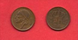 BELGIUM, 1954-1960, Circulated Coin, 20 Centimes,Dutch Km147.1, C1669 - 1951-1993: Baudouin I
